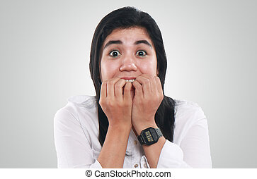 Very Nervous and Worried Young Asian Woman - Photo image...