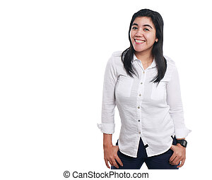 Proud and Strong Asian Woman Over White - Photo image...
