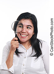 Happy Asian Woman With Magnifying Glass - Photo image...