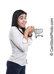 Happy Asian Woman With Shopping Trolley - Photo image...