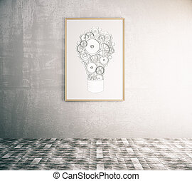 Idea concept - Concrete interior with creative gear lamp in...