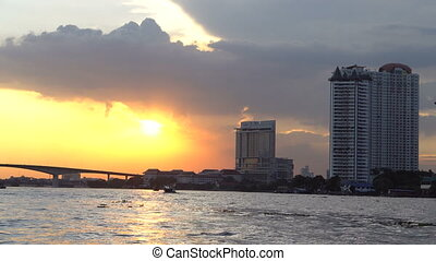 Boat view from Chao Praya river on Bangkok during beautiful...