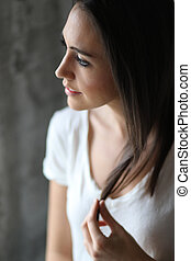 Beautiful Young Woman with Brown Hair and Eyes - Photo of a...