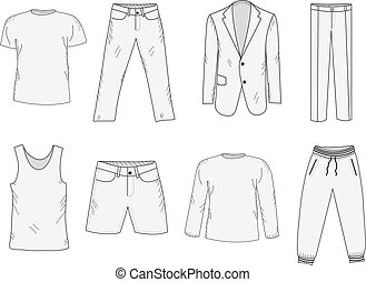 Clothing set sketch. Men's clothes, hand-drawing style. Business suit, jogging suit, T-shirt and shorts, summer clothes. Men's clothes vector illustration.