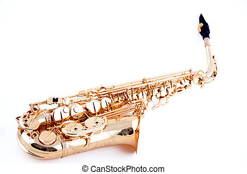 Saxophone Isolated on White - A gold brass saxophone...