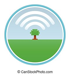 tree produces oxygen in the form of a cloud icon Wi f