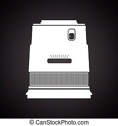 Icon of photo camera wide lens. Black background with white....