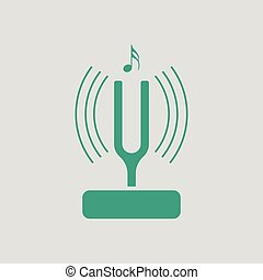 Tuning fork icon. Gray background with green. Vector...
