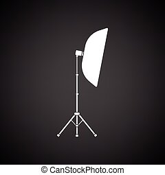 Icon of softbox light. Black background with white. Vector...