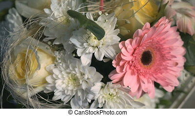 A beautiful bouquet of flowers from chrysanthemums. Close up