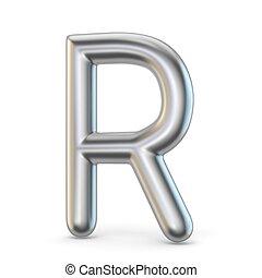 Metal alphabet symbol. Letter R 3D render illustration...