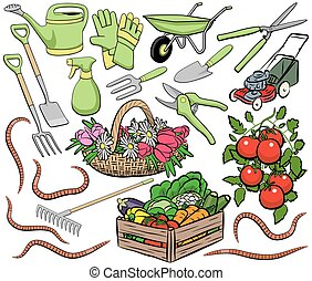 Gardening clip art - Set of vector gardening clip art...