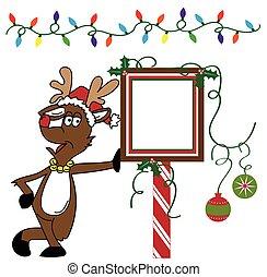 Christmas Reindeer and Sign
