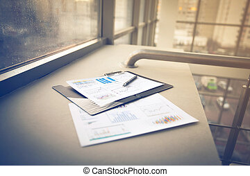 Drawings and charts of successful business, workplace of the...