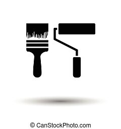Icon of construction paint brushes. White background with...