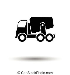 Icon of Concrete mixer truck . White background with shadow...