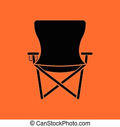Icon of Fishing folding chair. Orange background with black....