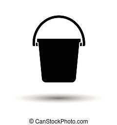 Icon of bucket. White background with shadow design. Vector...