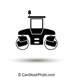 Icon of road roller. White background with shadow design....
