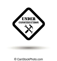 Icon of Under construction. White background with shadow...
