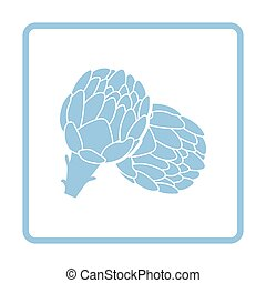 Artichoke icon. Blue frame design. Vector illustration.