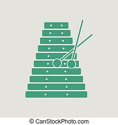 Xylophone icon. Gray background with green. Vector...