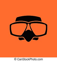 Icon of scuba mask . Orange background with black. Vector...