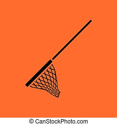 Icon of Fishing net . Orange background with black. Vector...