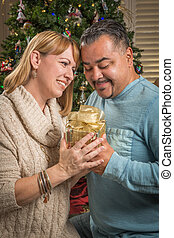Young Mixed Race Couple with Present Near Christmas Tree