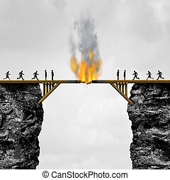 Burning Bridges Concept - Burning bridge concept as groups...