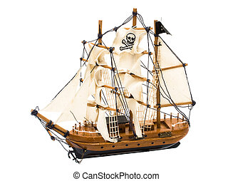 Pirate Ship - A pirate ship with a flag isolated on white