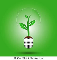 eco bulb with plant green vector