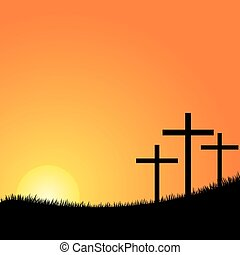 Three crosses on a hill vector - Crosses silhouette in the...
