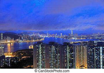 Kowloon and Hong kong sky - view form black hill at lam tin...