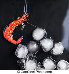 Fresh raw shrimps on a black board with ice - Food...