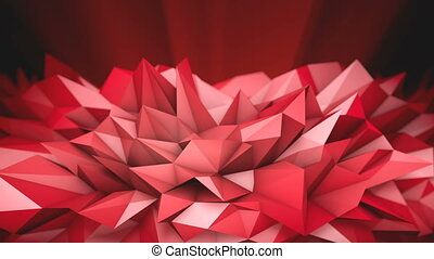 Red Polygonal Shape. Abstract 3d rendered background.