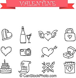Valentine element with hand draw