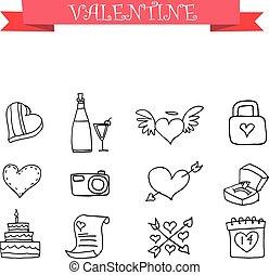 Valentine element with hand draw