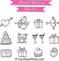 Hand draw of valentine element