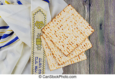 Jewish holiday Pesah  Passover  with matza