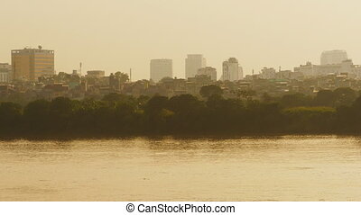 Hanoi city in the evening haze. Overlooking the river....