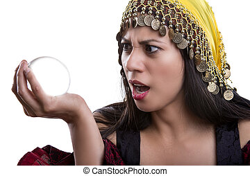 Close up of Fortune Teller and Crystal Ball - Close up of...