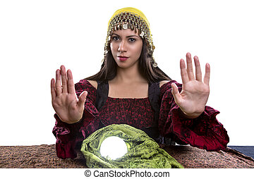 Psychic Holding Her Hands Up in Stop Gesture - Female...