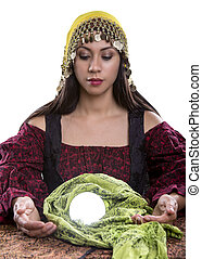 Psychic Isolated on a White Background - Female psychic or...