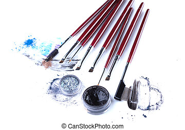 Set of professional brushes for eye makeup