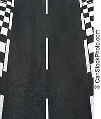 Texture of race asphalt and chess curb Grand Prix track -...
