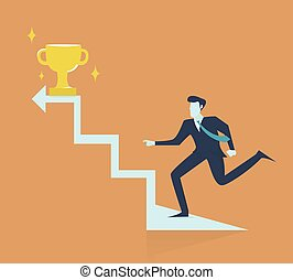 Successful businessman walking up stairs to golden trophy as symbol of success