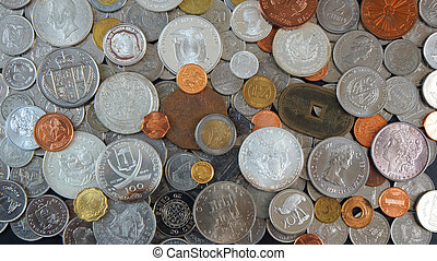 Background of Coins from different countries of the world,...