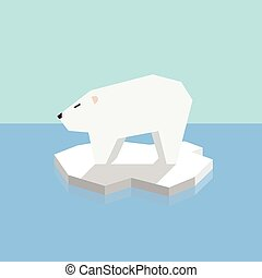 Polar bear on an ice floe. vector illustration