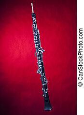雙簧管, 被隔离, 背景, 紅色